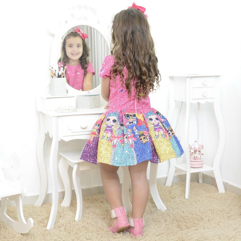Vestido infantil mínis bonecas Lol surprise glitter confete - smart