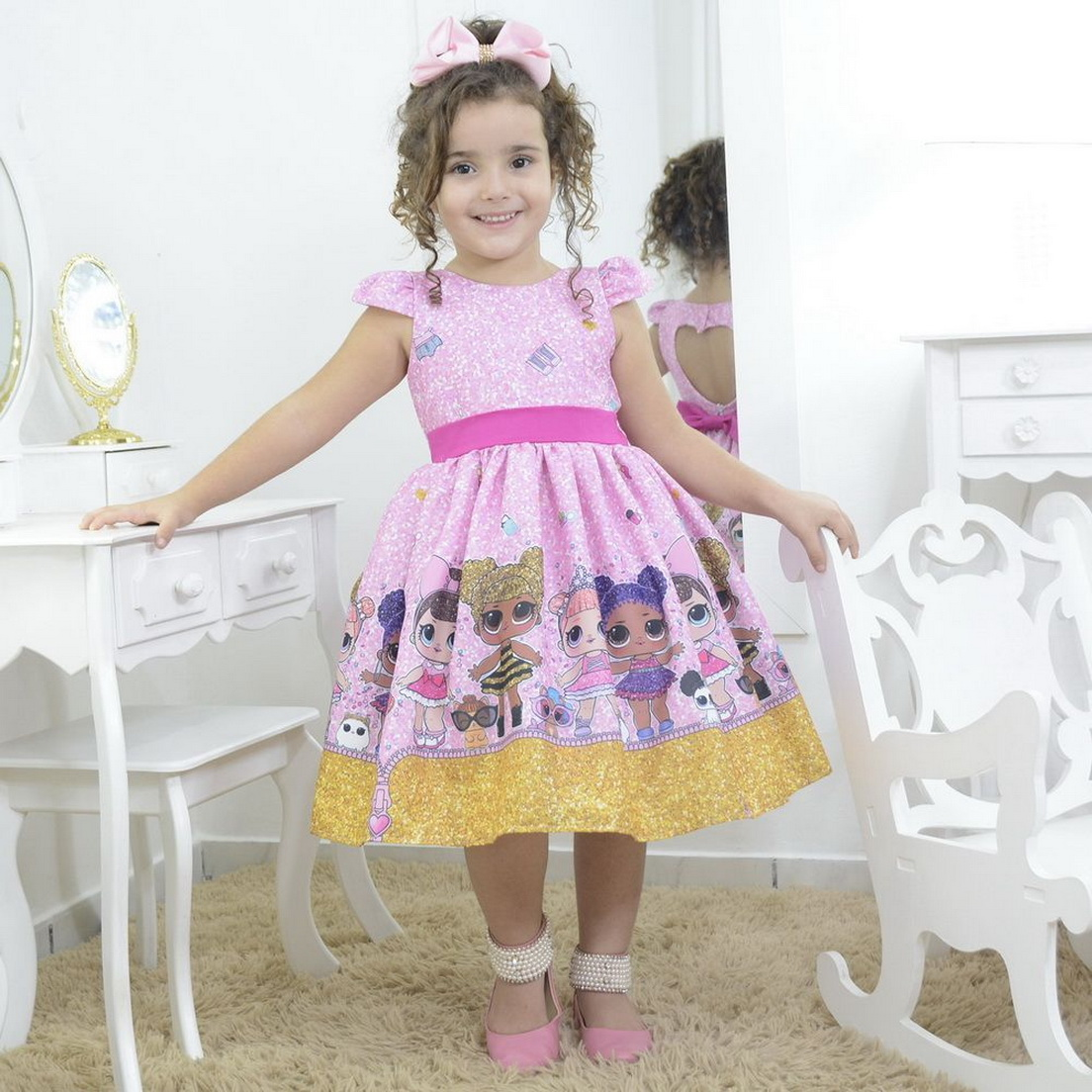 Vestido infantil mínis bonecas lol suprresa glitter confetti