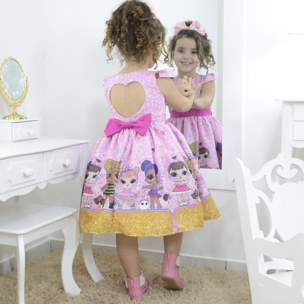 Vestido infantil mínis bonecas loll suprresa glitter confetti