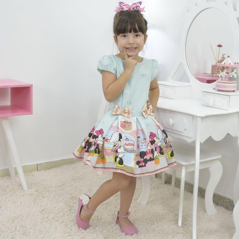 Vestido Infantil Minnie confeiteira