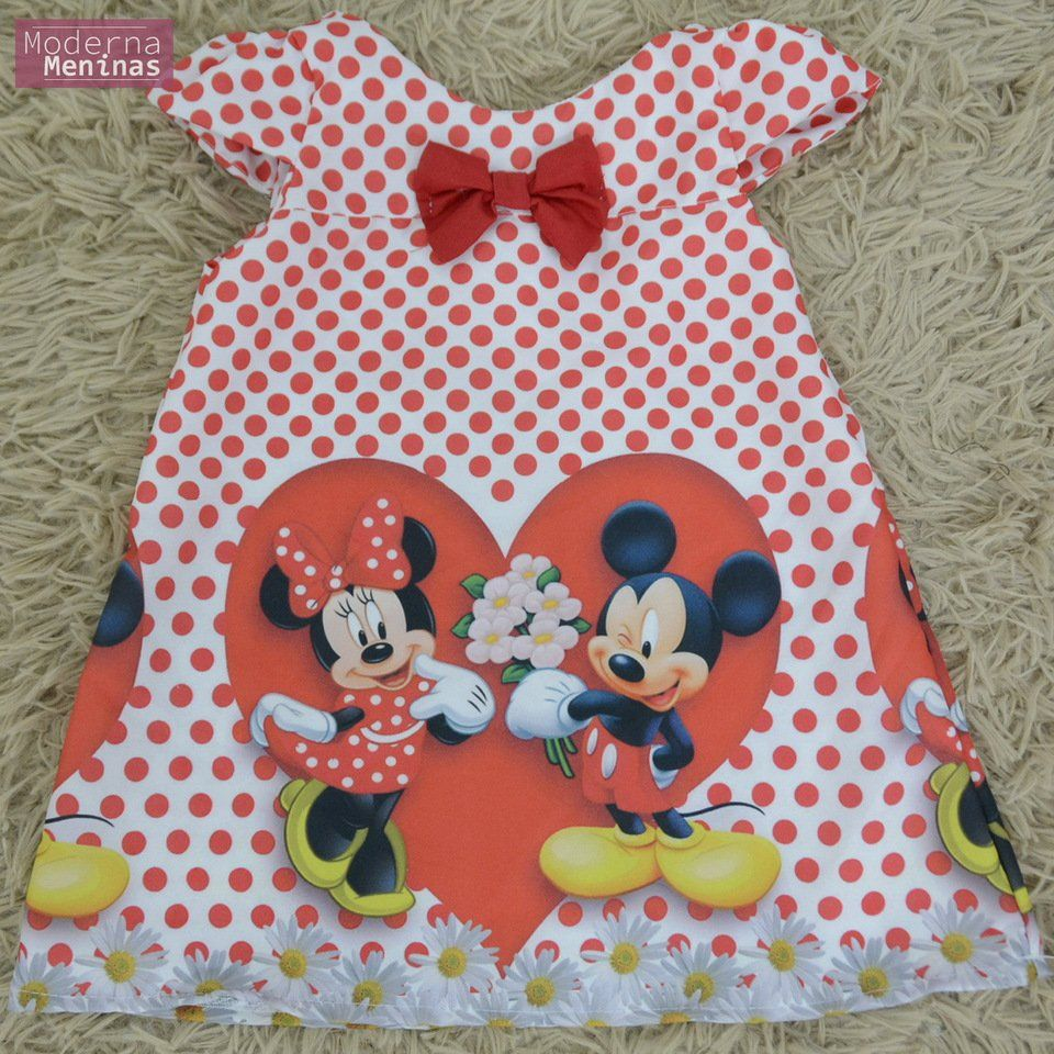 Vestido infantil Minnie e Mickey – Tubinho trapézio