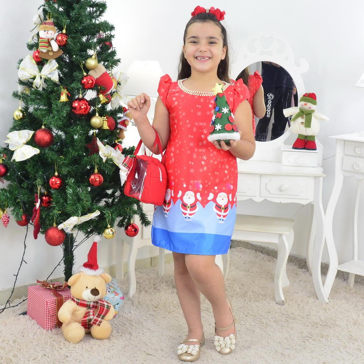 Vestido Infantil Papai Noel Natal Com Bolsa e Arvore de Montar