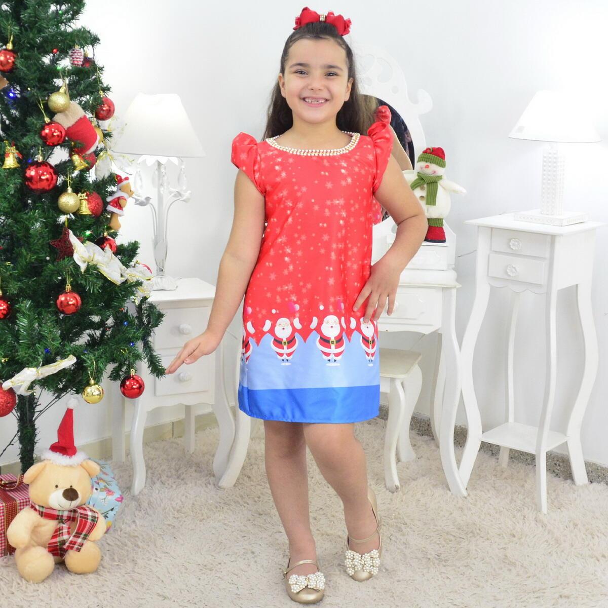 Vestido Infantil Papai Noel Natal Com Gola Bordada