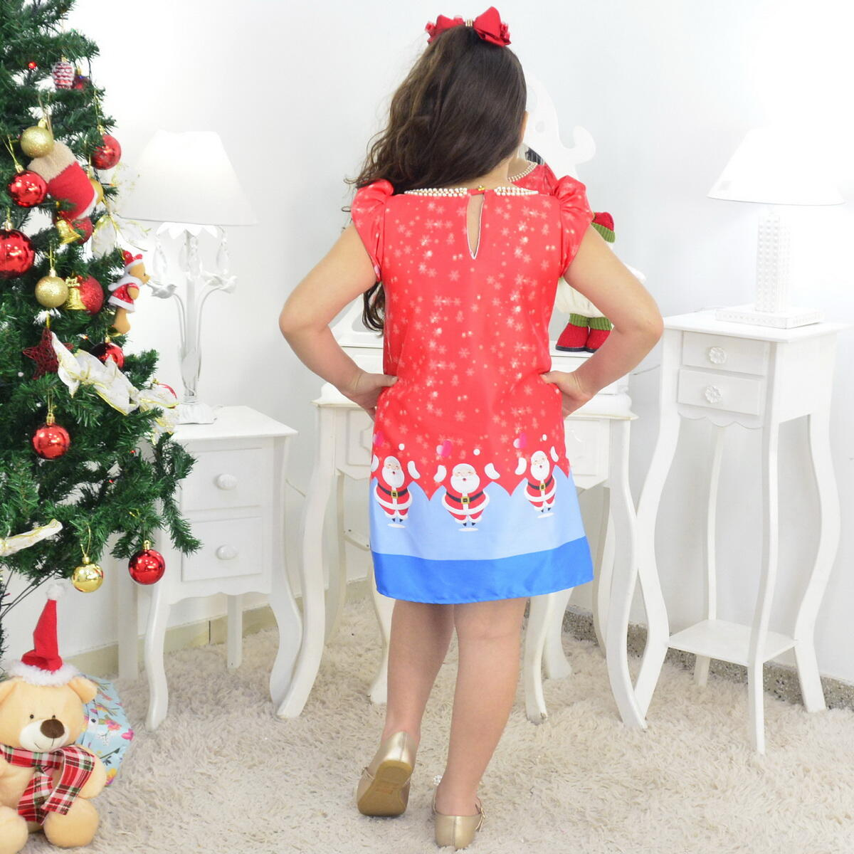 Vestido Infantil Papai Noel Natal  e Urso de Pelúcia