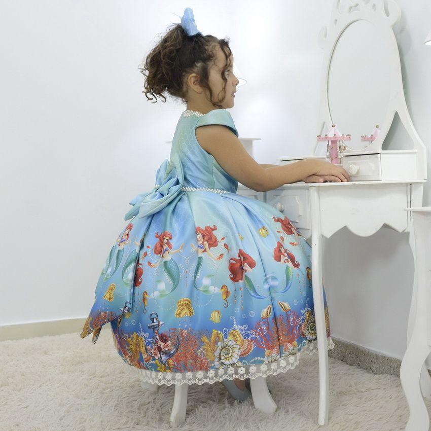 Vestido infantil Princesa Ariel a Sereia no Fundo do Mar