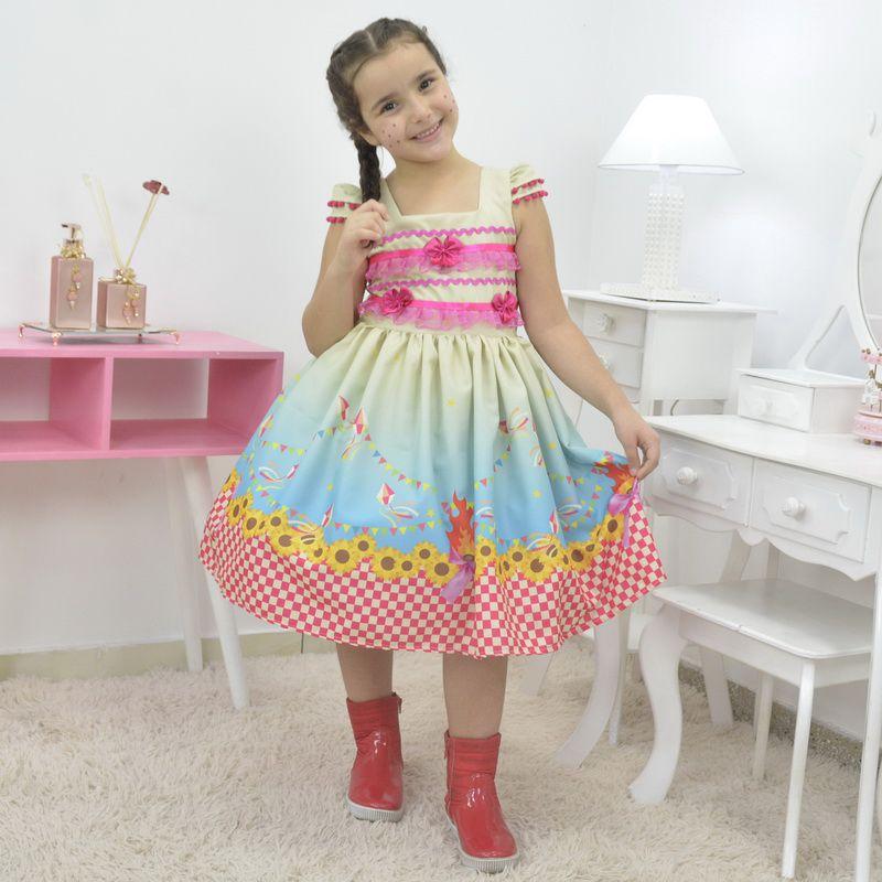 Vestido infantil quadrilha - Festa Junina com barrado xadrez