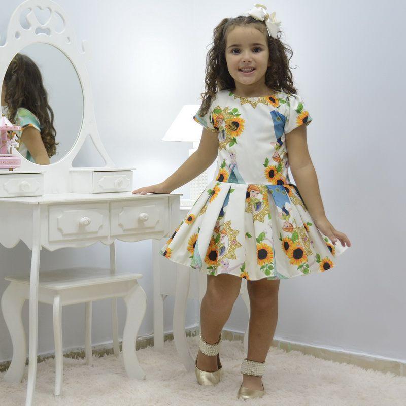 Vestido infantil rainha da neve Elsa - Frozen Fever