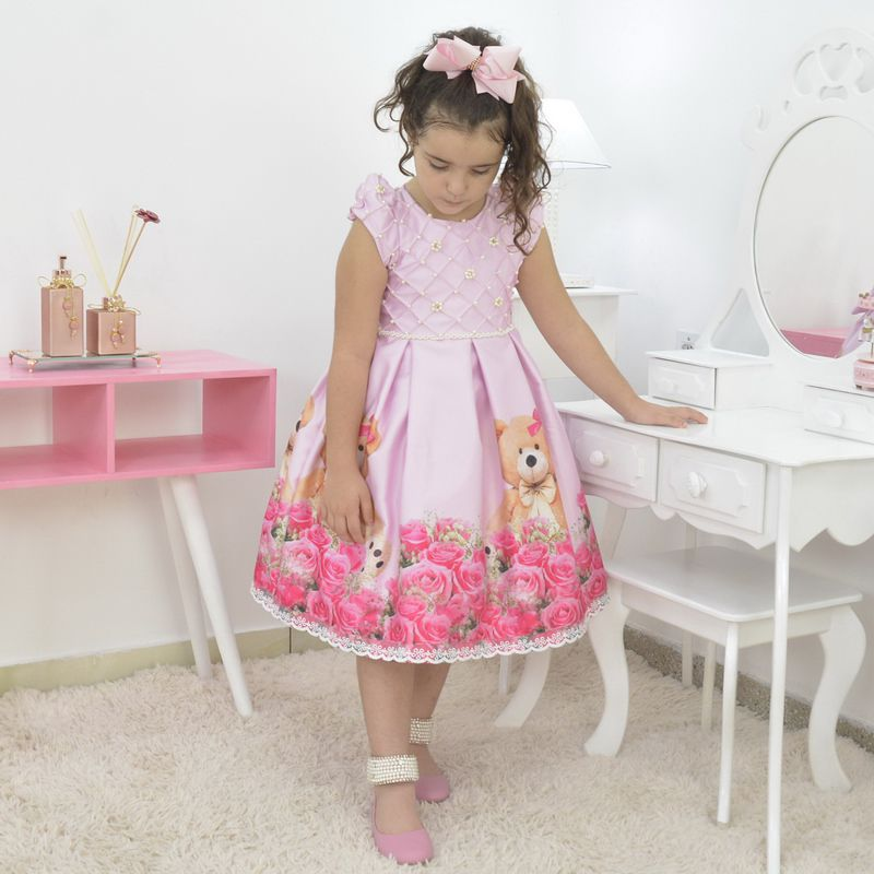 Vestido infantil rosa jardim com ursinho de pelúcia luxuoso