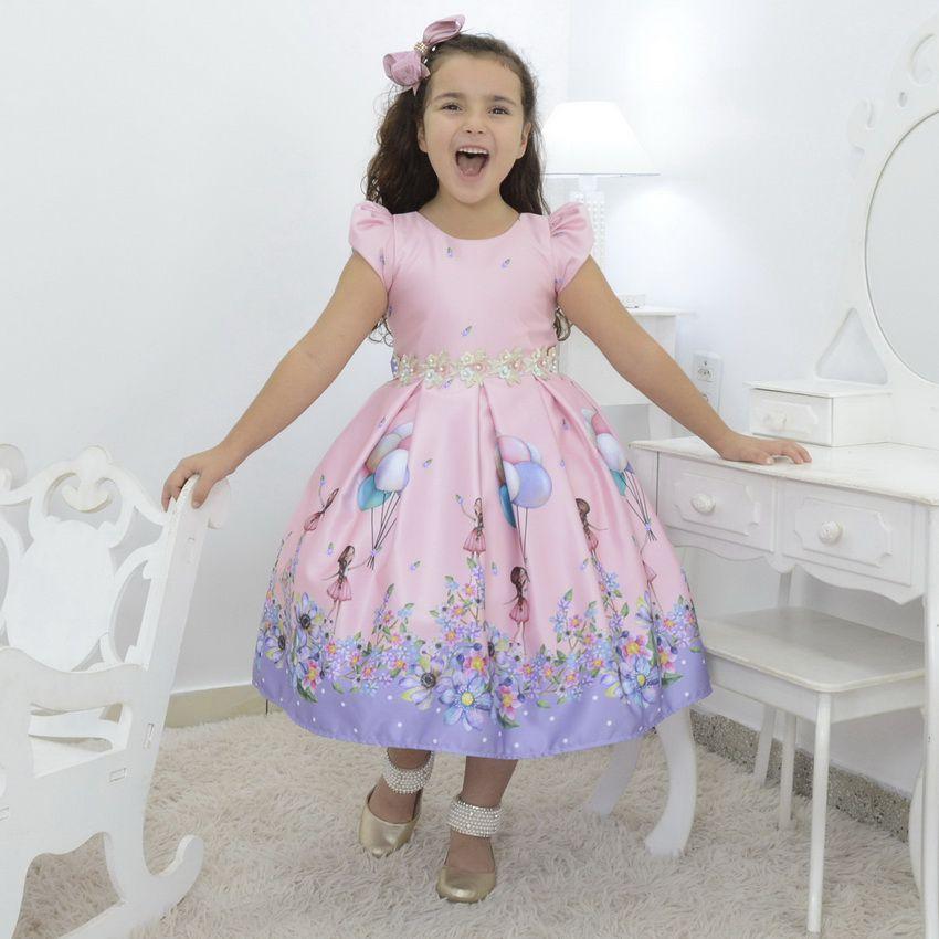 Vestido infantil rosa tema Bailarina com balões no jardim