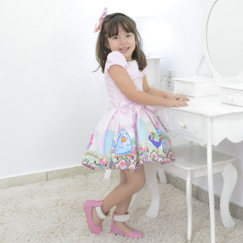 Vestido infantil rosa tema Galinha Pintadinha
