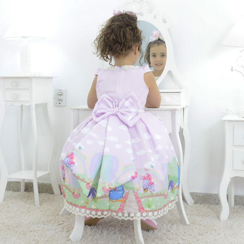 Vestido infantil rosa tema Galinha Pintadinha - luxuoso