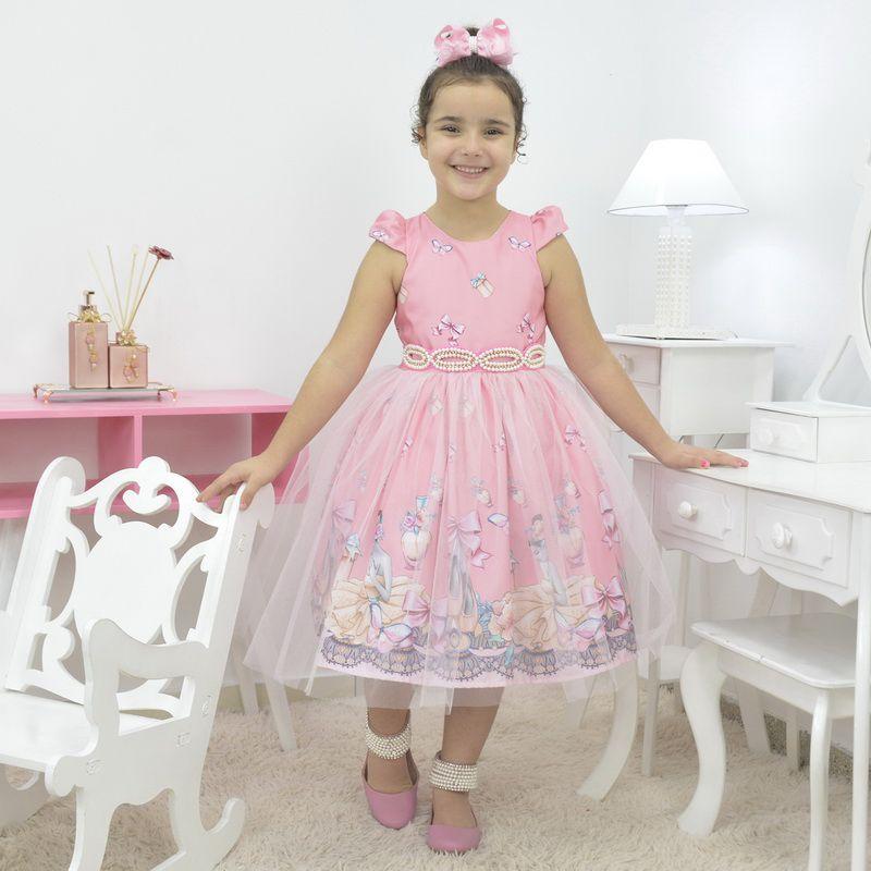 Vestido infantil tema bailarina com tule francês sobre a saia