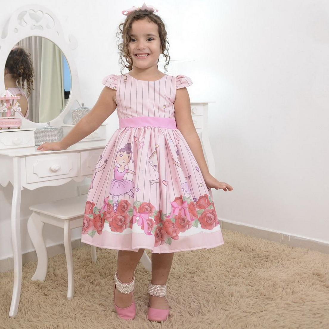 Vestido infantil tema bailarinas e lindas rosas