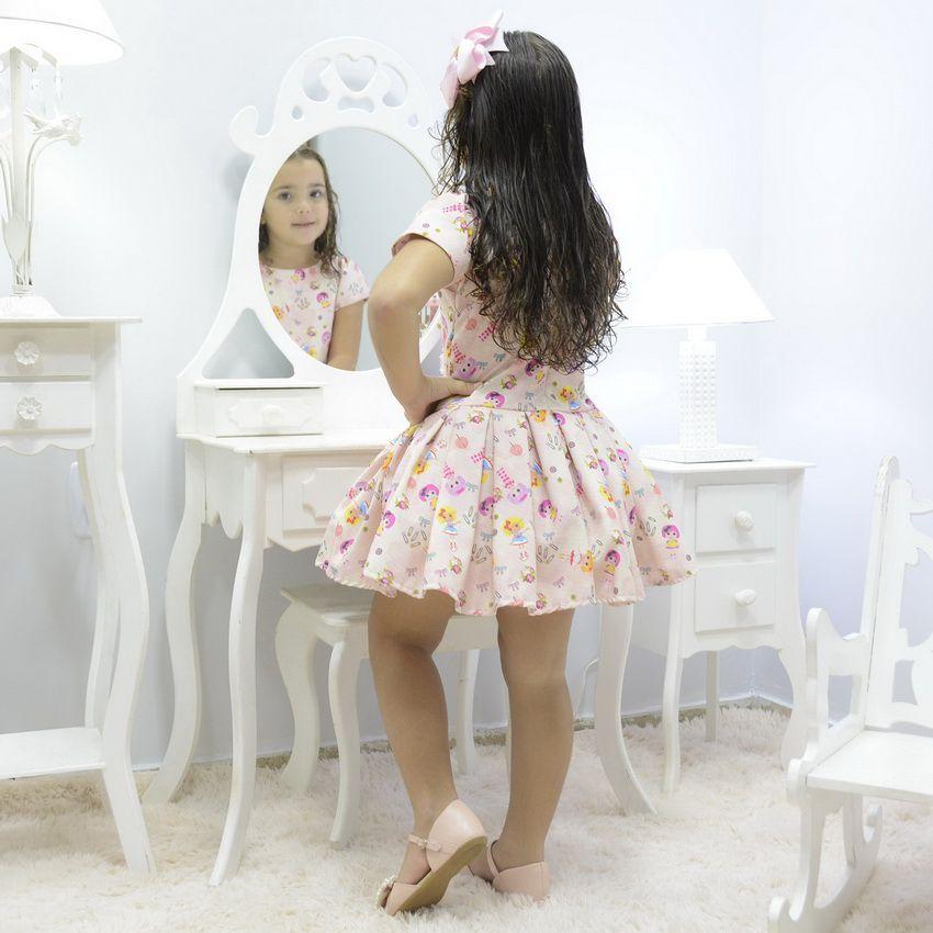 Vestido infantil tema bonecas Lalaloopsy rosa