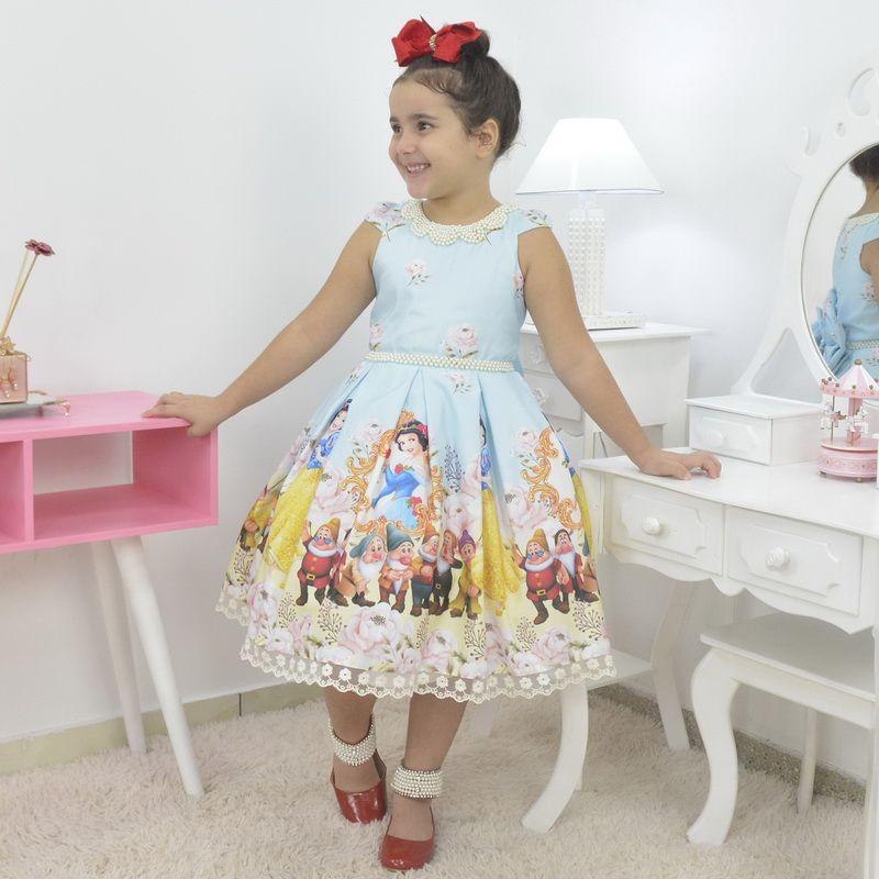 Vestido infantil tema branca de neve e os sete anões luxuoso