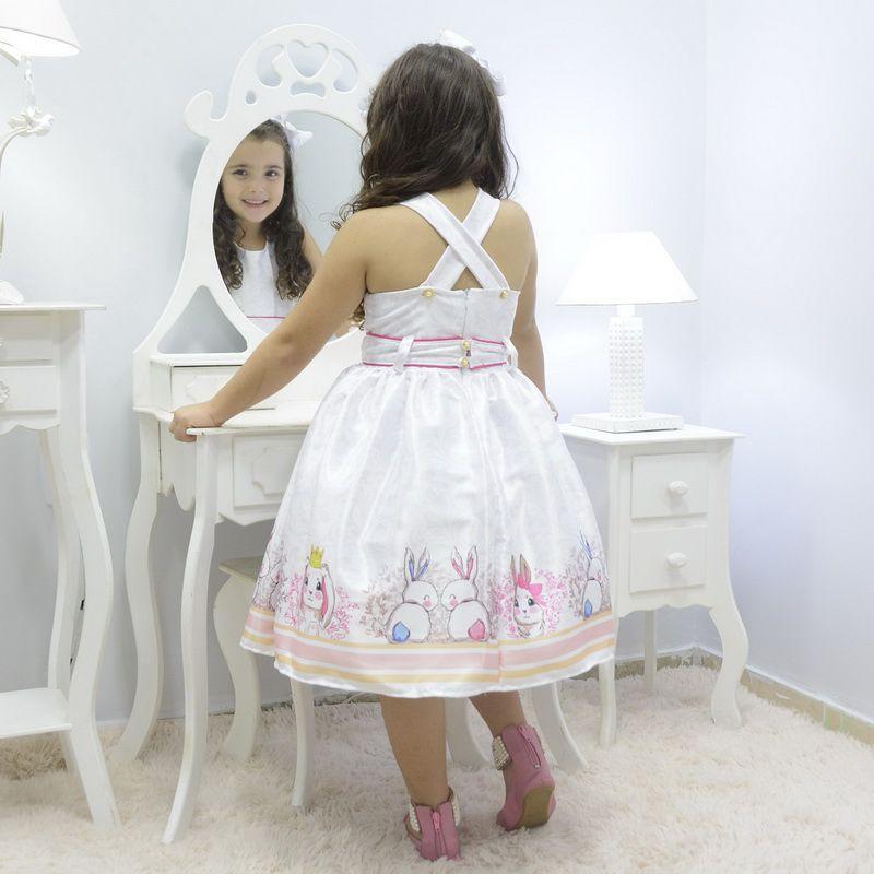 Vestido infantil tema Coelho Realeza