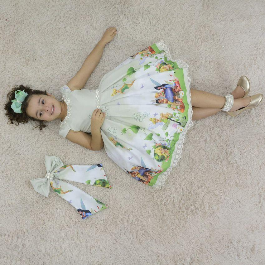 Vestido infantil tema da fada Sininho - Tinker Bell