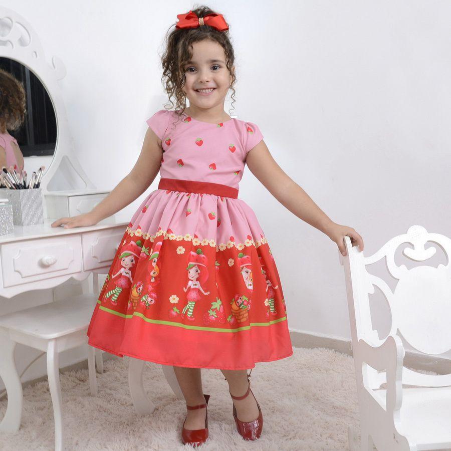 Vestido infantil tema da Moranguinho