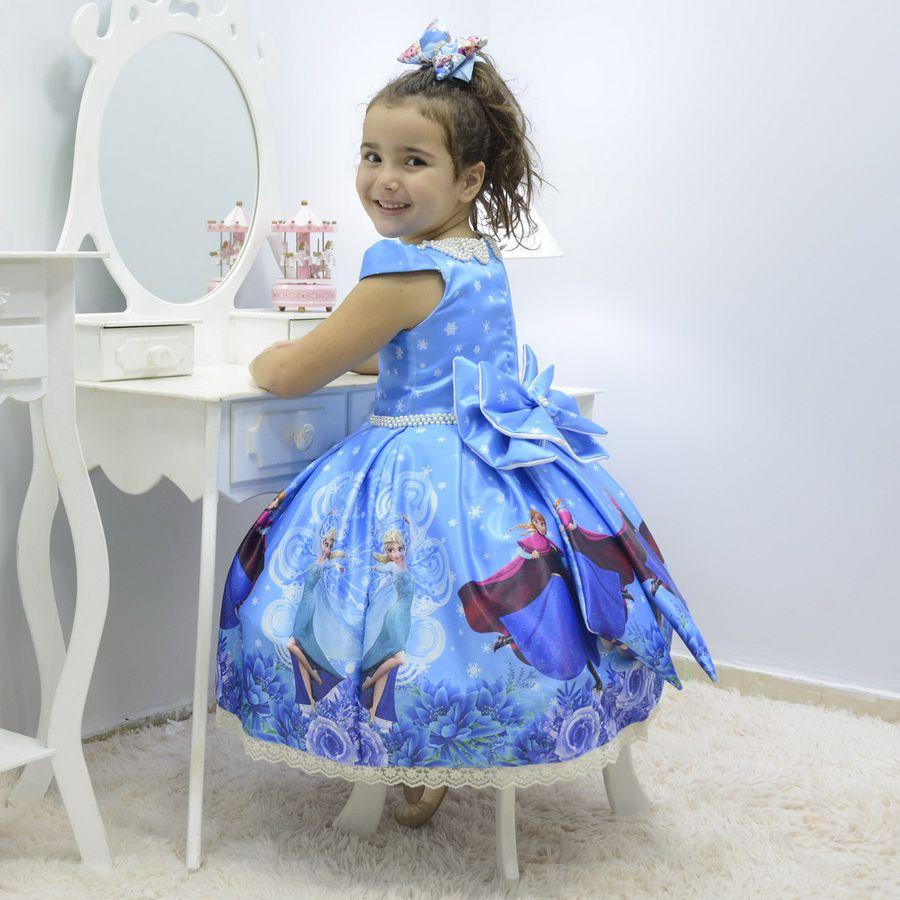 Vestido Infantil Tema Frozen Elsa E Anna