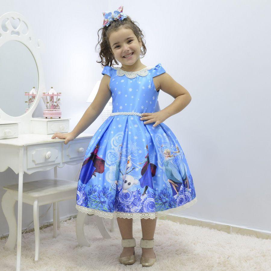 Vestido infantil tema Frozen - Elsa e Anna