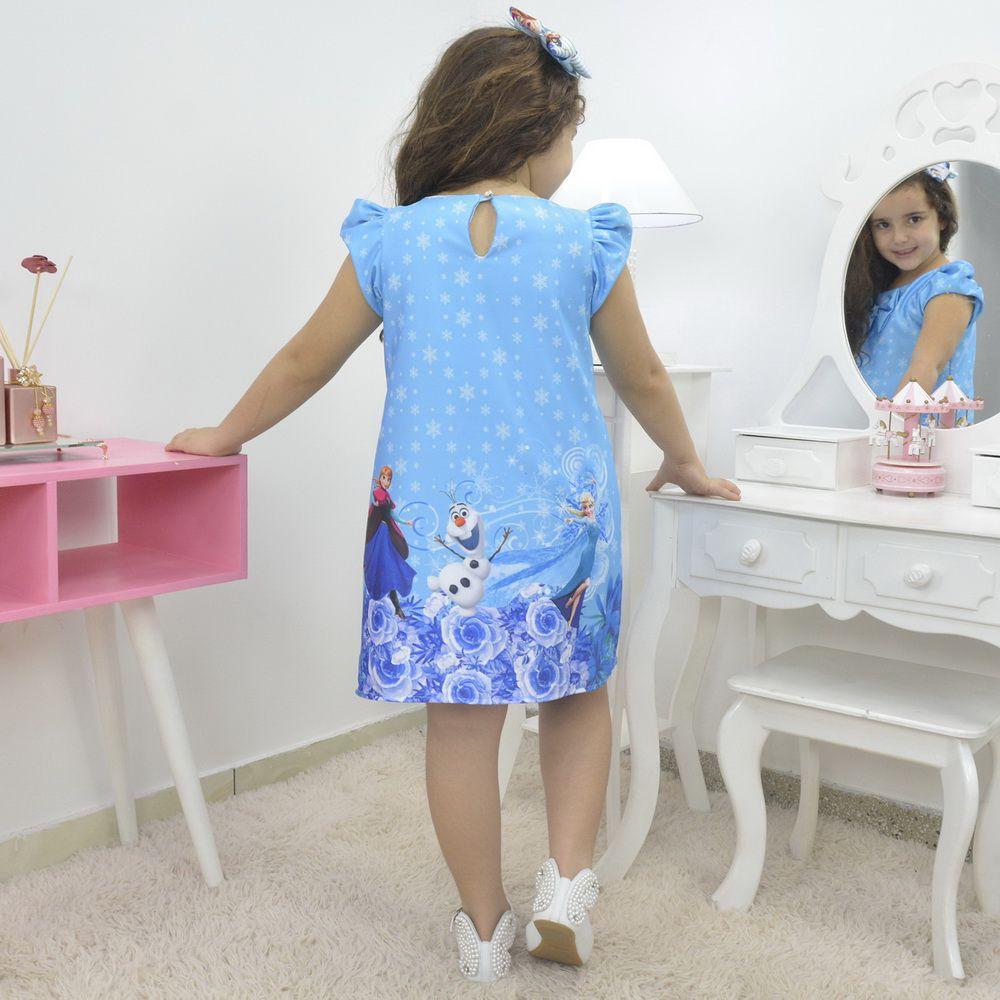 Vestido infantil tema Frozen - Elsa e Anna azul trapézio