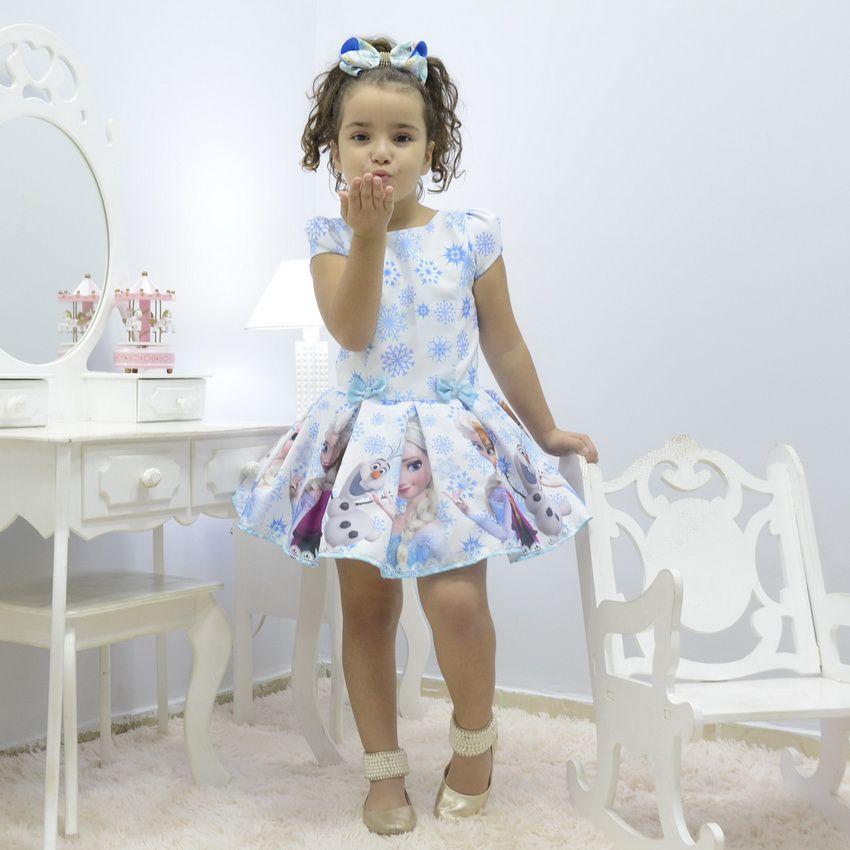 Vestido infantil tema Frozen - Uma Aventura Congelante