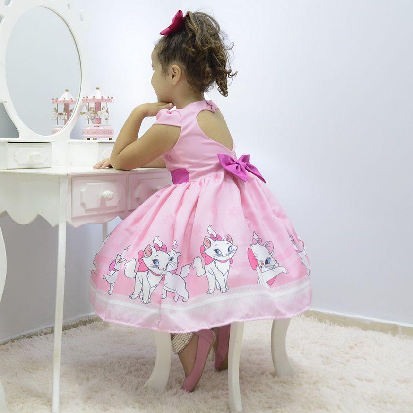 Vestido infantil tema Gata Marie rosa