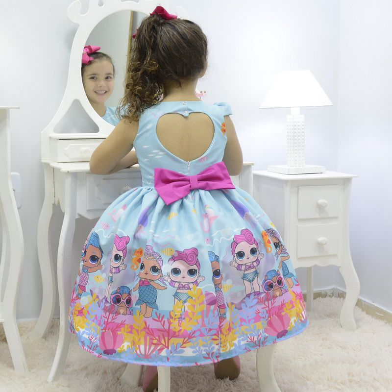 Vestido infantil tema Lol Sereia - Splash Queen