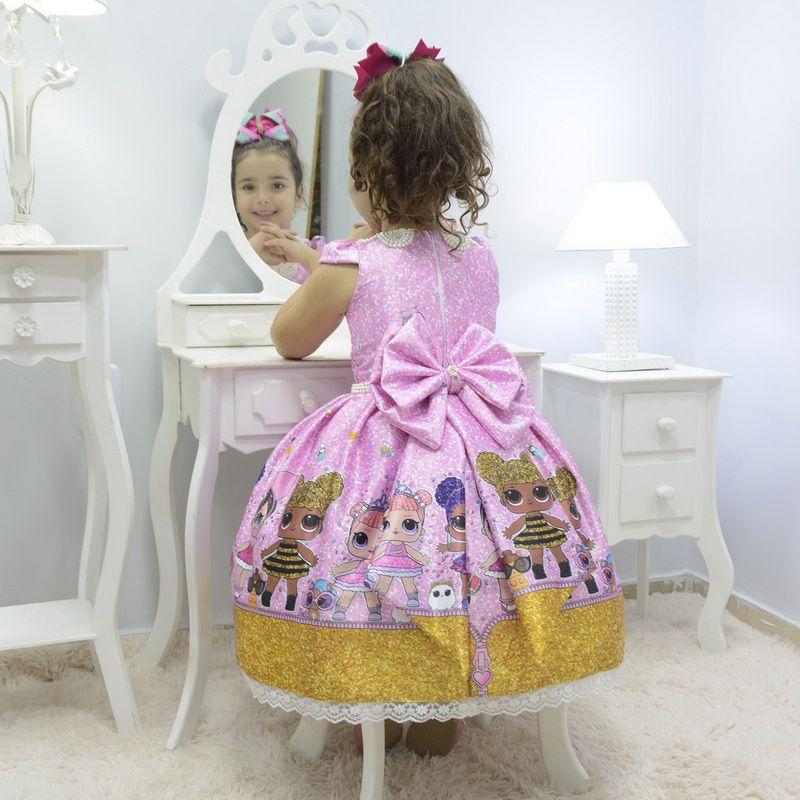 Vestido infantil tema Lol Surprise Glitter Confetti - luxuoso
