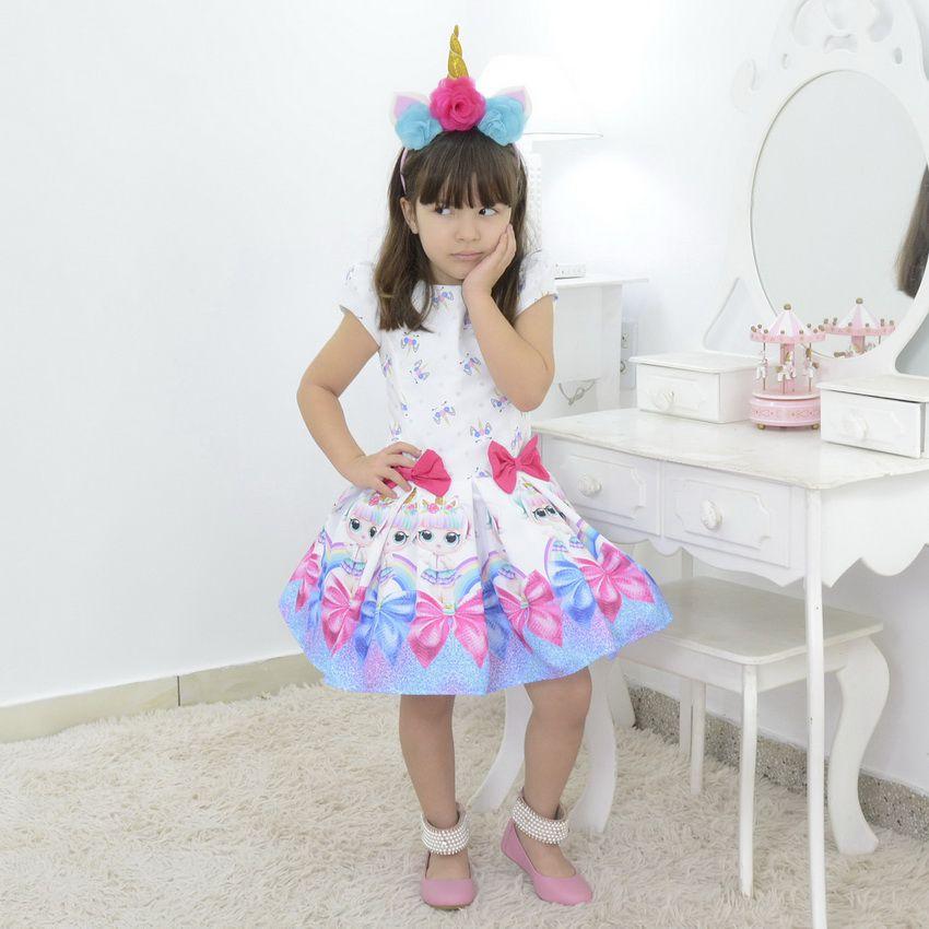 Vestido Infantil tema Lol Surprise Unicórnio