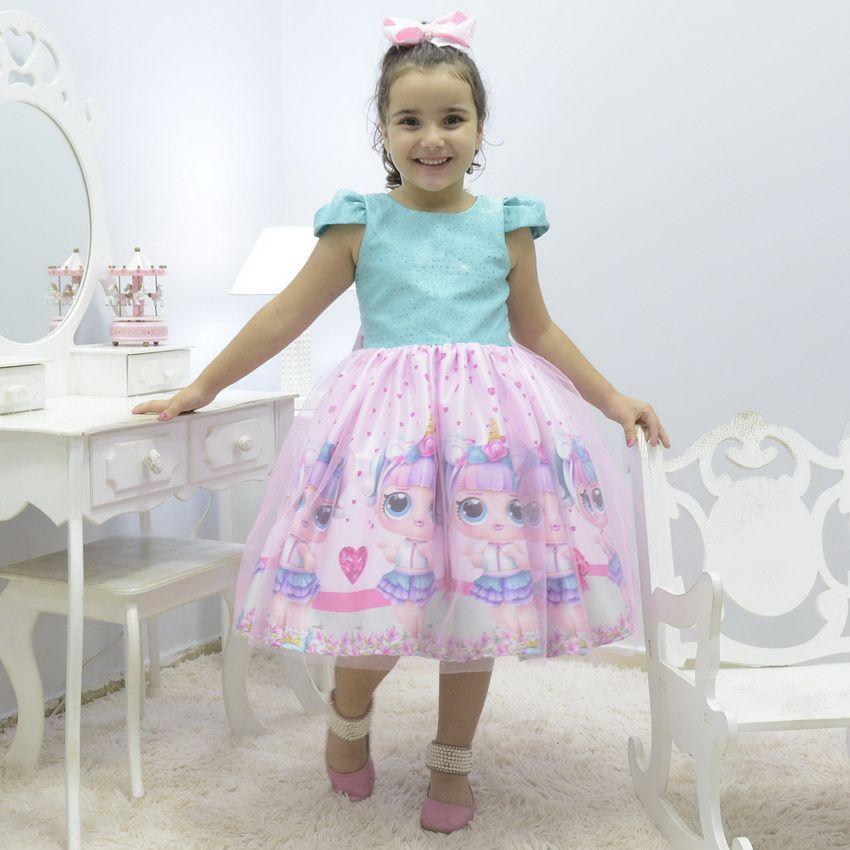 Vestido infantil tema Lol Surprise Unicórnio com tule francês