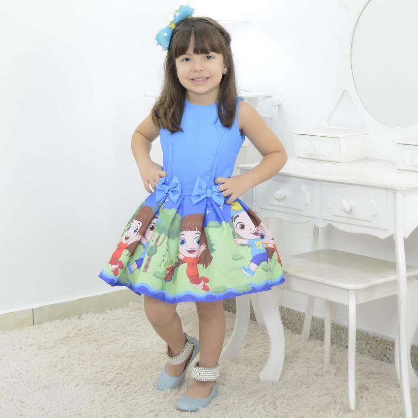 Vestido Infantil tema Luccas Neto e Gi