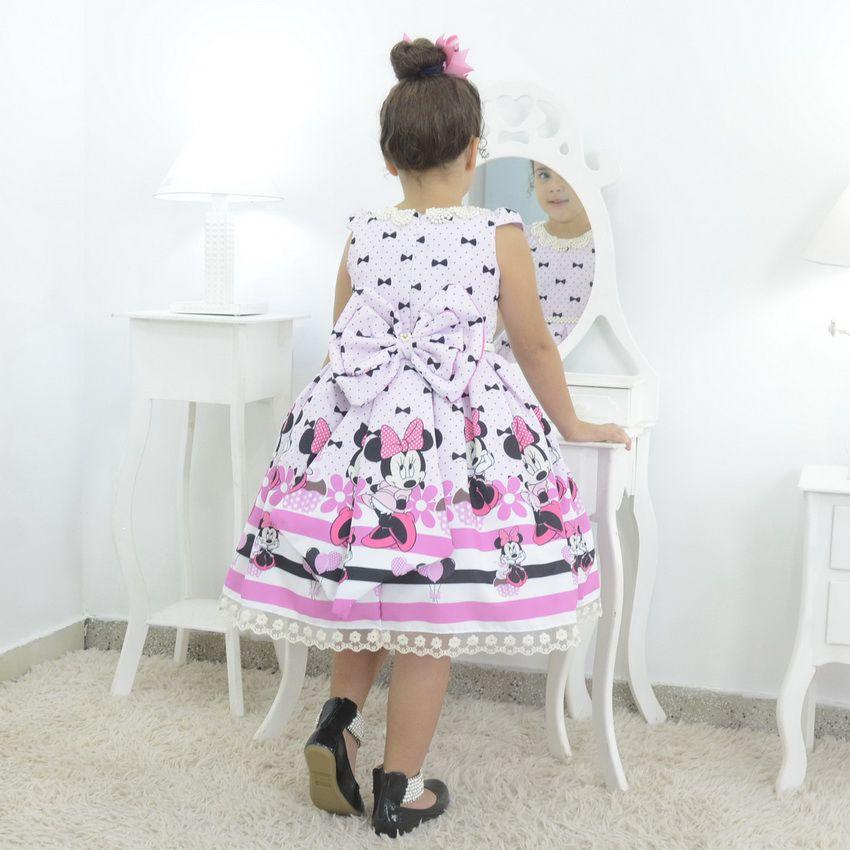 Vestido infantil tema Minnie Rosa com bordado em perolas