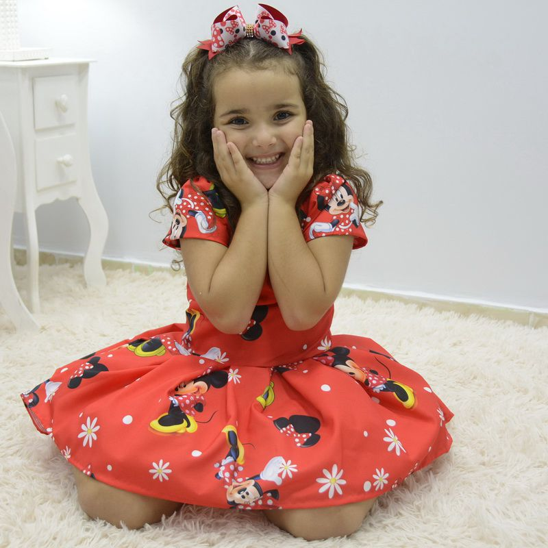 Vestido infantil tema Minnie vermelho