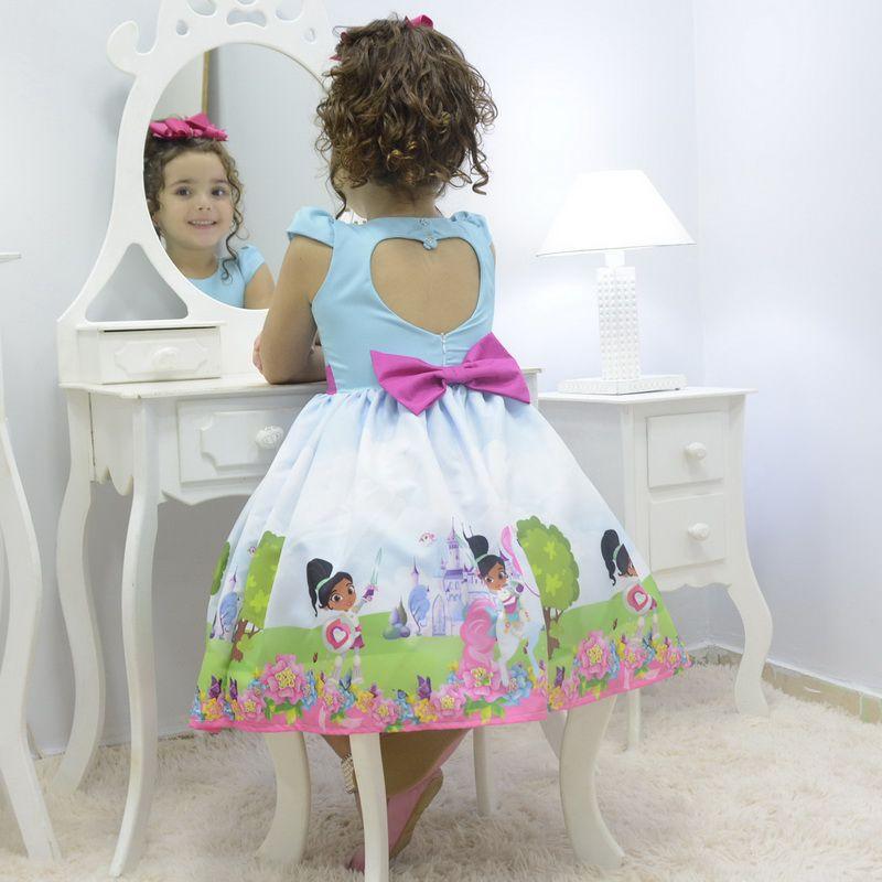 Vestido infantil tema Nella, uma Princesa Corajosa