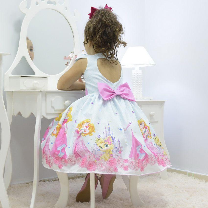Vestido infantil tema Princesa Aurora - Bela Adormecida