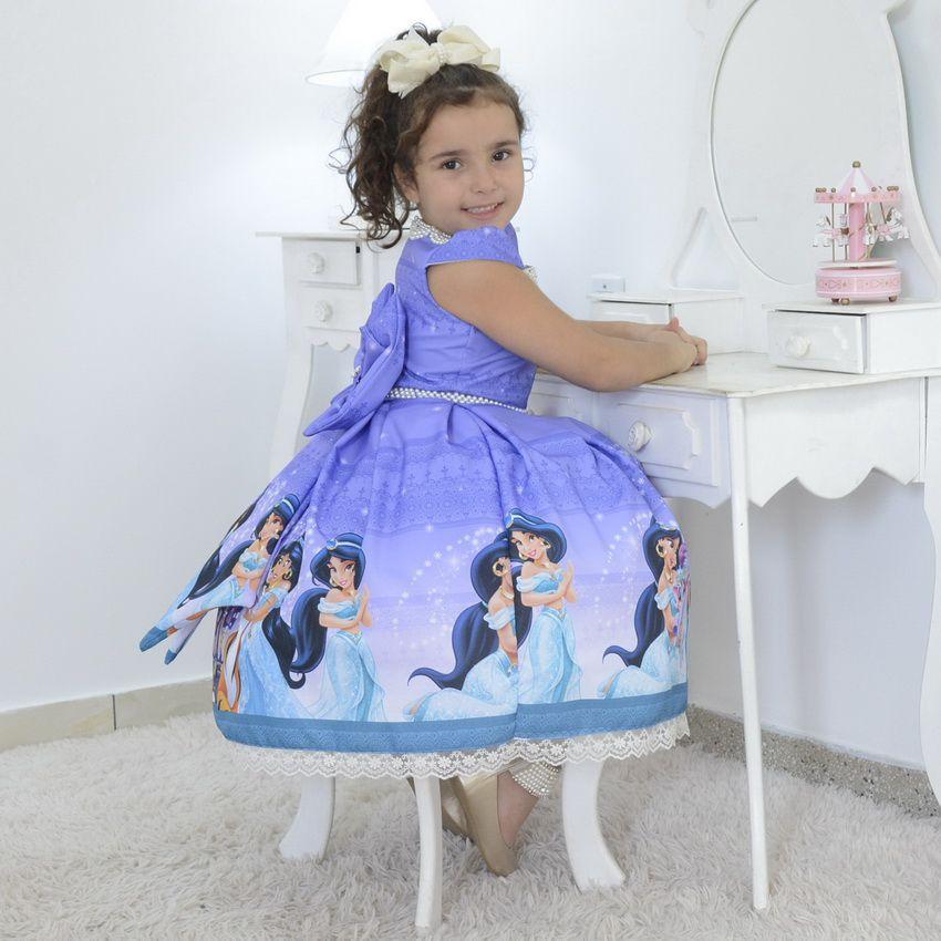 Vestido infantil tema Princesa Jasmine - Aladdin