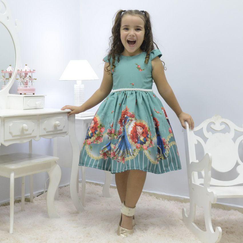 Vestido infantil tema Princesa Merida - Valente