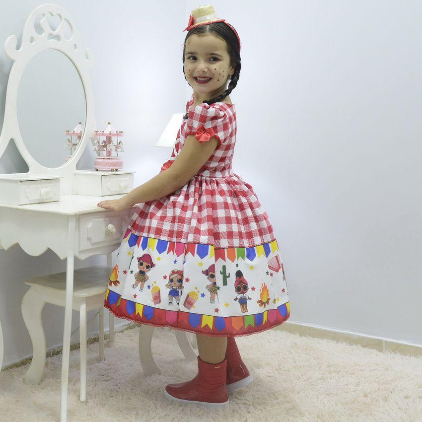 Vestido infantil tema quadrilha - Festa Junina da Lol Surprise
