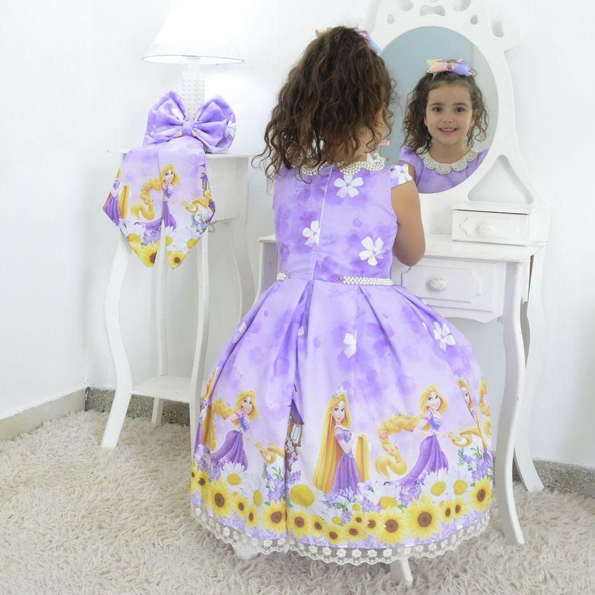Vestido infantil tema Rapunzel enrolados - Disney