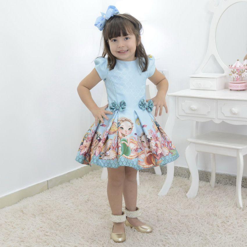 Vestido infantil tema Sereia no fundo do mar