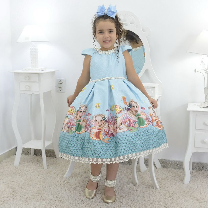 Vestido infantil tema Sereia no fundo do mar - luxuoso