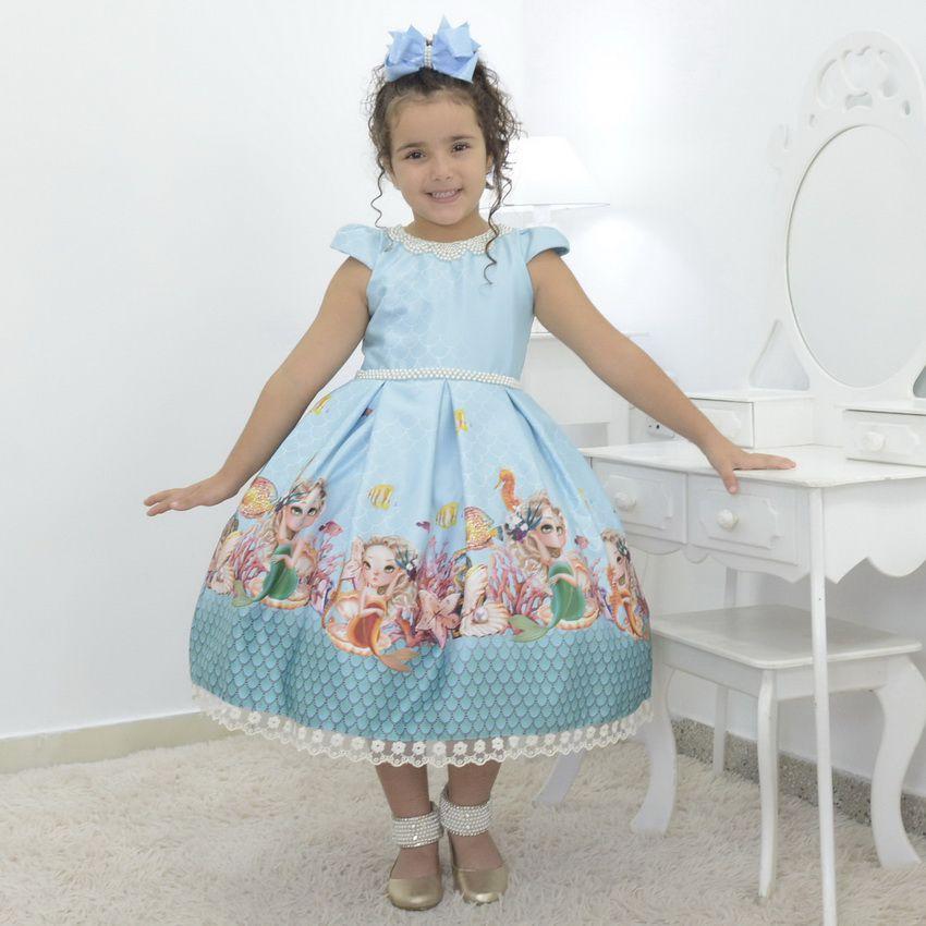 Vestido infantil tema Sereia no fundo do mar - luxuoso