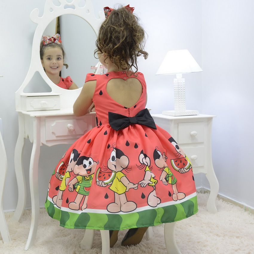 Vestido infantil tema Magali - Turma da Mônica