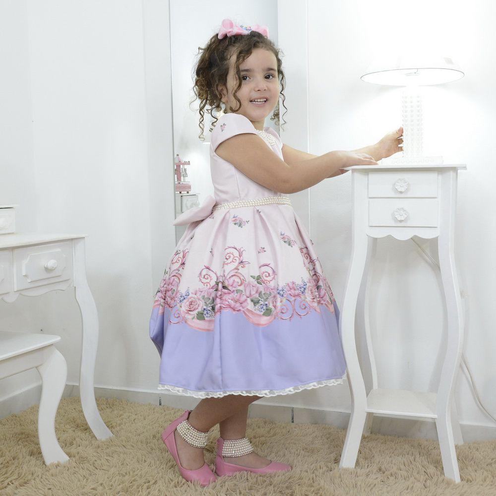 Vestido infantil tema unicórnio realeza com bordados em perolas