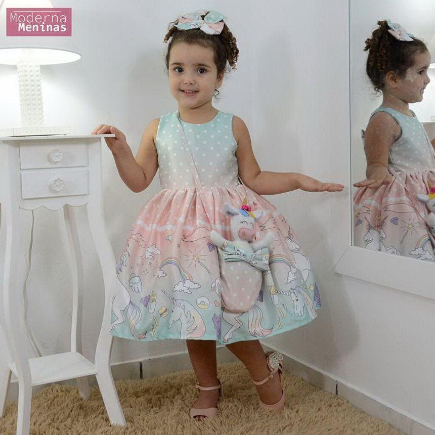 Vestido infantil unicórnios de pelúcia, bolsa e laço para cabelo