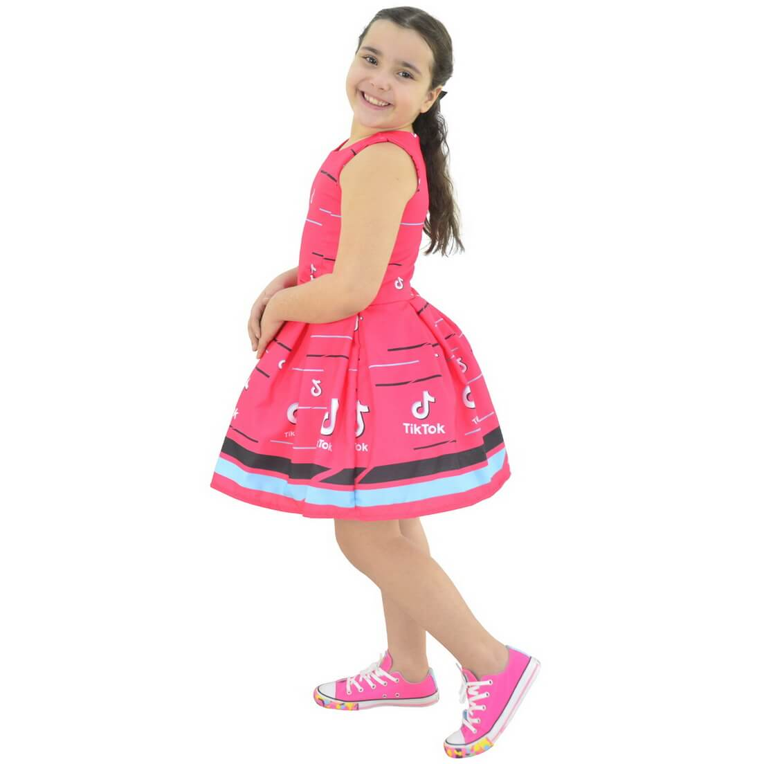 Vestido infantil Tik Tok Rosa - TikTok