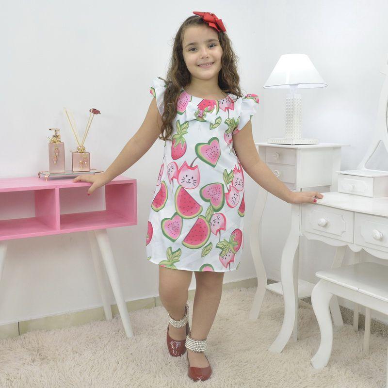 Vestido infantil tropical com melancias e morangos