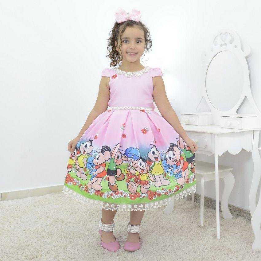 Vestido Infantil turma da Mônica, com Cascão, Magali e Cebolinha
