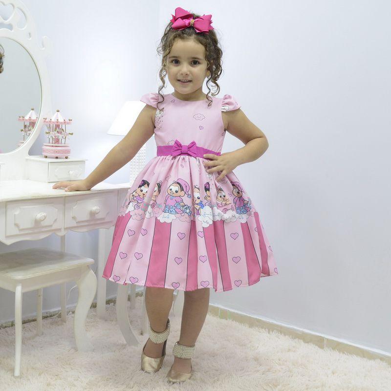 Vestido infantil Turma da Mônica e Magali baby na chuva de amor